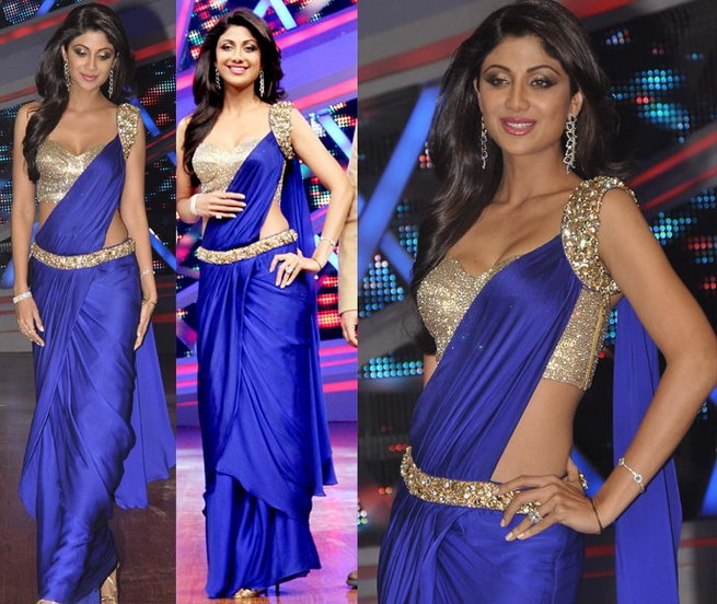 shilpa-shetty-in-plain-cocktail-saree-blouse1